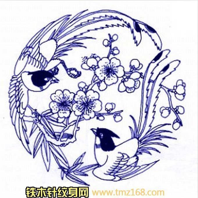 樱花桃花凤凰图腾线稿精品纹身手稿定制武汉纹身铁木